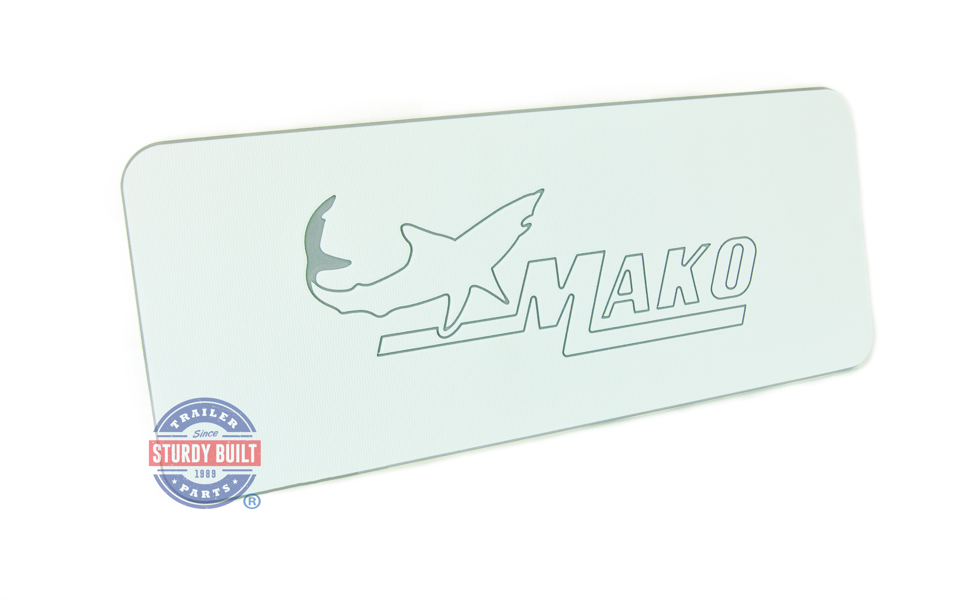SeaDek Helm Pad Large Non Skid White and Storm Gray Boat Mat With Mako Logo