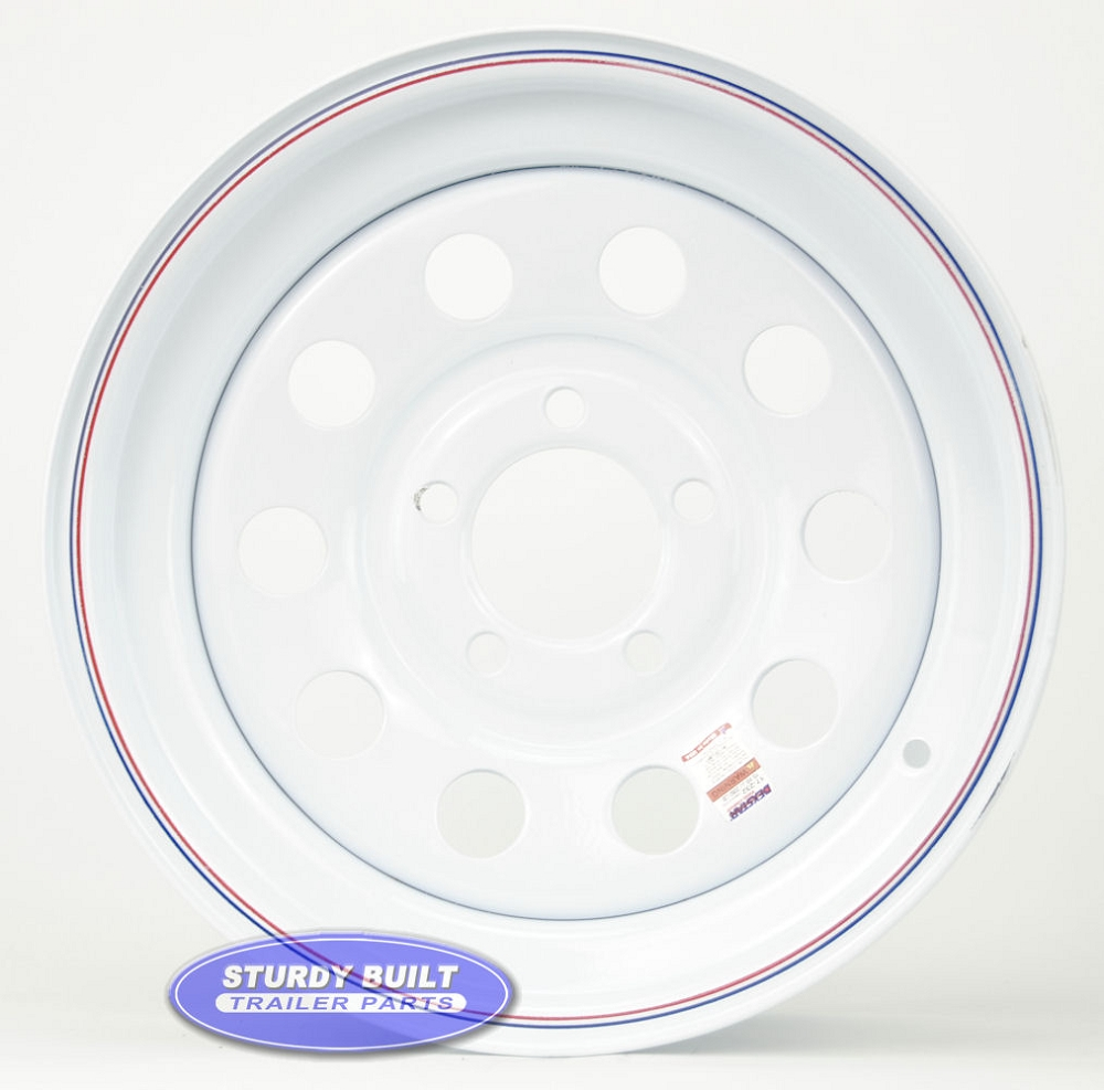 Wheel Bolt Patterns Chart >> 15 inch 5 Bolt White Modular Trailer Wheel 5 on 4 1/2 Lug Pattern