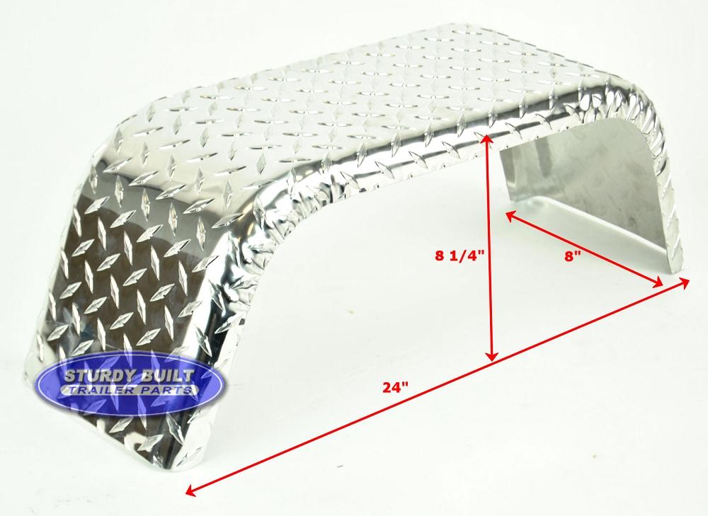 Aluminum Diamond Plate Boat Trailer Fender Single 8 X 24 X 8 14in p 359