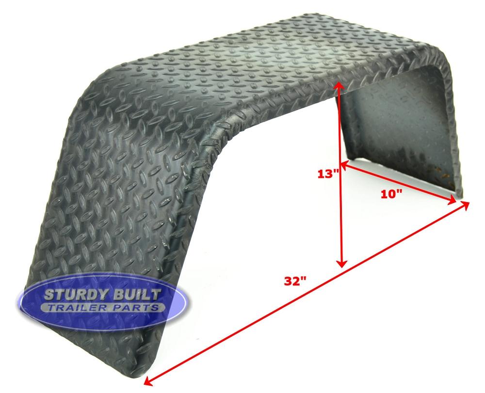 Cargo Trailer Fenders : Steel diamond plate utility trailer fender single axle