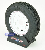 ST145 R 12 Loadstar Trailer Tire on 5 Lug White Spoke Trailer Wheel