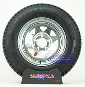 ST205/75D15 Bias Ply Trailer Tire mounted on a Galvanized 5 Bolt Wheel