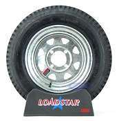 ST 5.30-12 Boat Trailer Tire on 4 Bolt Galvanized Wheel 5.30x12 LRC 1045lb