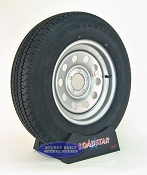 ST205/75R15 Radial Trailer Tire on a Silver Mod 5 bolt Wheel