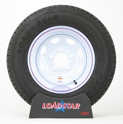 ST175/80R13 Radial Trailer Tire on a White Spoke Painted 5 bolt Wheel