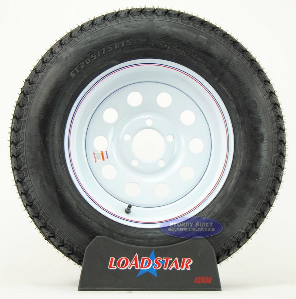 std trailer tire   mounted    bolt white mod wheel