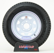 ST205/75D15 Trailer Tire on a White Painted Wheel 5 on 5 Bolt Circle