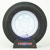 ST205/75R14 Radial Trailer Tire mounted on a White Painted 5 bolt Wheel