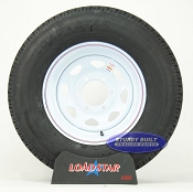 ST225/75R15 Trailer Radial Trailer Tire on a 6 Bolt White Spoke Wheel