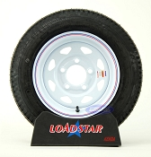 4.80x12 Trailer Tire on a 5 Bolt White Spoke Wheel LRC 990lb