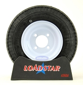ST 4.80 x 8 Trailer Tire on a 4 Bolt White Painted Trailer Wheel
