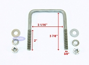 Stainless Steel Square Trailer U-Bolt 3/8 inch x 3 in x 3 7/8 in