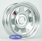13 inch Galvanized 4 Lug Trailer Wheel 4 on 4 inch Bolt Pattern