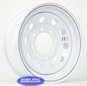 16 inch White Modular Style 8 Bolt Trailer Wheel 8 on 6 1/2 Lug Pattern