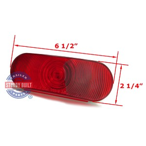 Red Incandescent Oval Replacement Light Sealed
