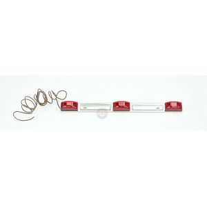 Red LED ID Light Bar Submersible Stainless Steel Backing for Boat Trailer
