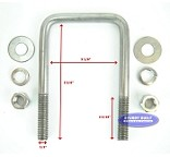 Stainless Steel Square Trailer U-Bolt 1/2 inch x 3 inch x 5 5/16 inch