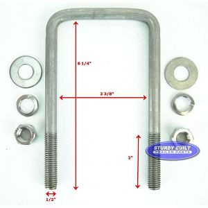 Stainless Steel Square Trailer U Bolt 1 2 Inch X 3 3 8