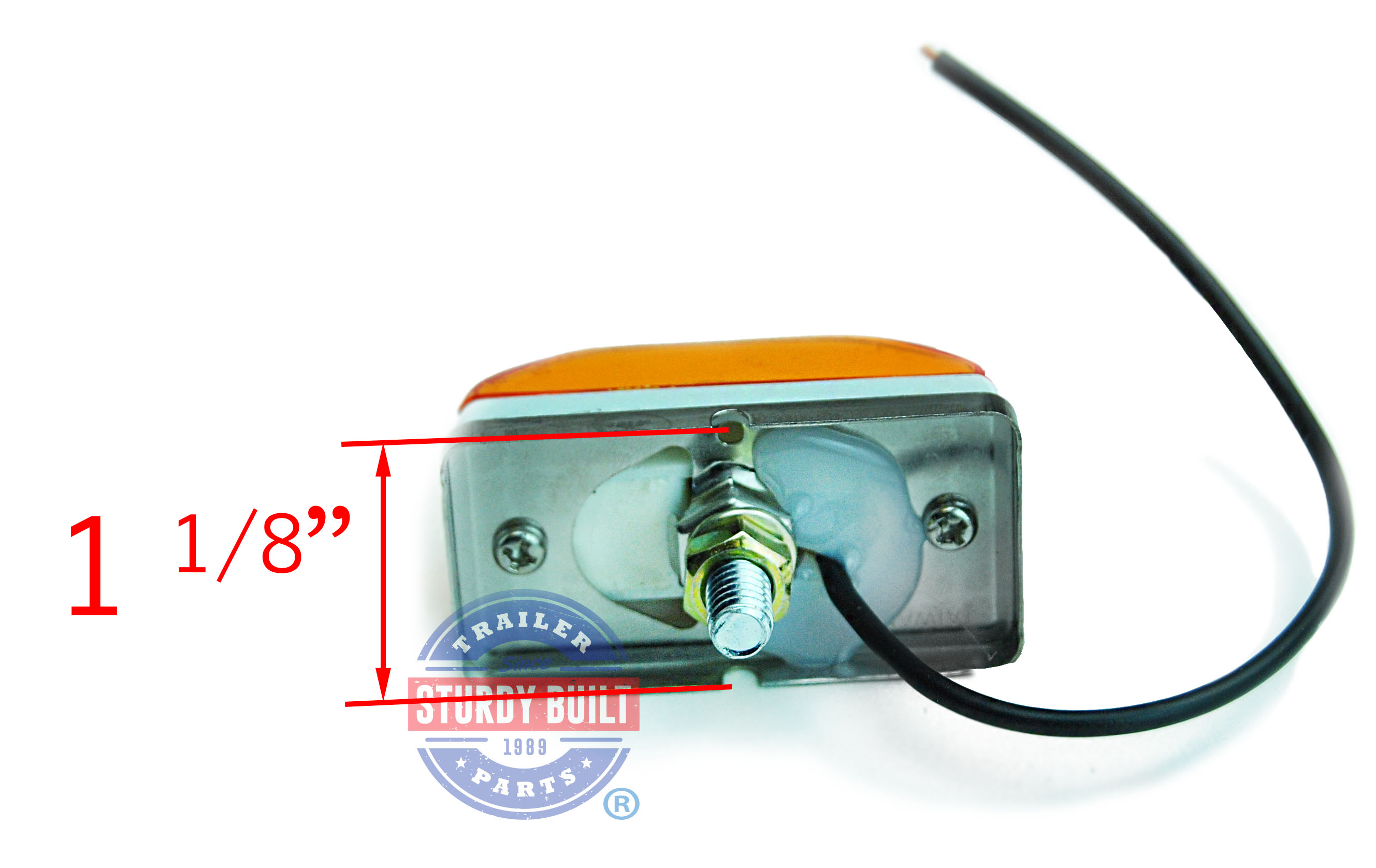 Side Marker Trailer Light Amber Submersible Single Stud 2 1 8 Wiring Lights By Optronics Mc95ab