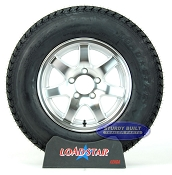 Trailer Tire ST205/75D14 Bias Ply on Aluminum 7 Spoke Wheel 5 Lug