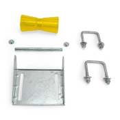 8 inch Yellow Poly Vinyl Boat Trailer Keel Roller and Bracket Kit for 3x3 Cross Members