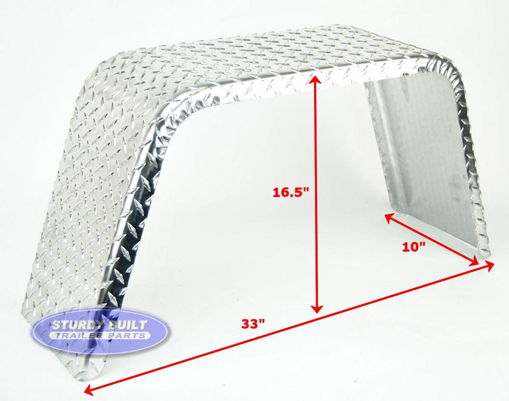 Aluminum Diamond Plate Boat Trailer Fender Single 10 X 33 X