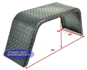 Steel Diamond Plate Utility Trailer Fender Single Axle 10 x 32 x 13in