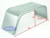 Galvanized Square Boat Trailer Fender Single Axle 10 x 29 x 10in