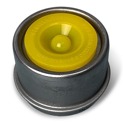 1.98 Stainless Steel Dust Cap with Yellow Silicone Plug for Accu-Lube, EZ Lube, Posi Lube Axles