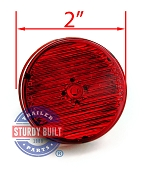 LED Side Marker Trailer Light Red 2 inch Round 2 Prong Mount