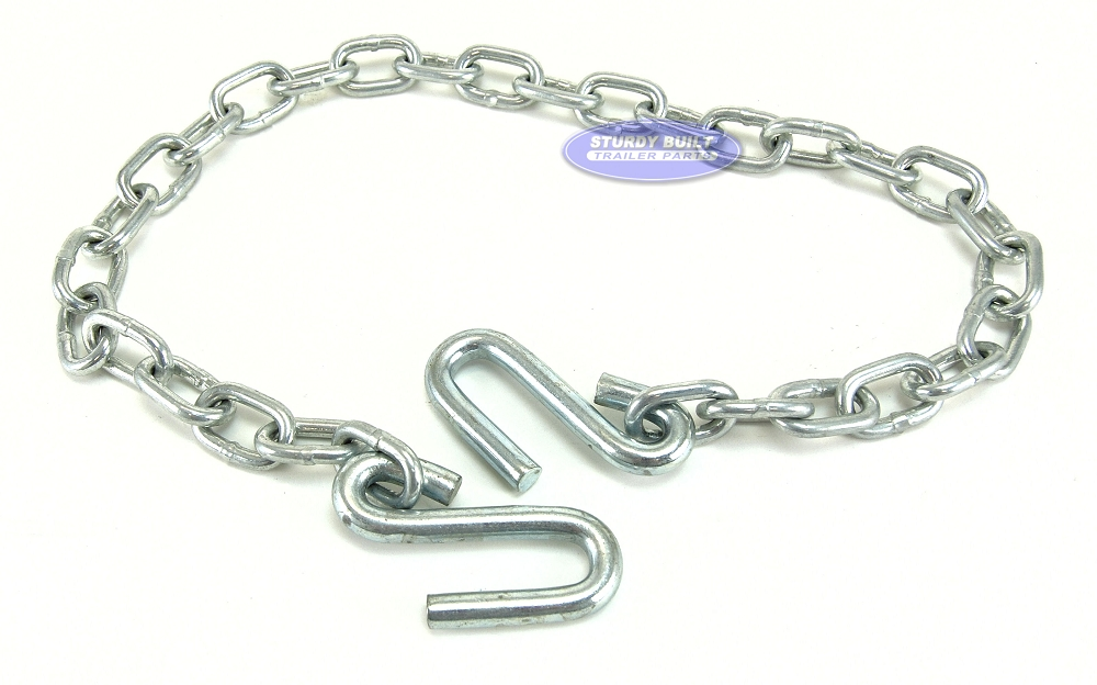 """Trailer 1//4/"""" x 48/"""" Safety Chain with 7//16/"""" S-hooks 5,000 lb Rating Zinc Finish"""