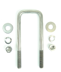 Stainless Steel Square Trailer U-Bolt 1/2 inch x 2 inch x 7 5/16 inch