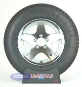 ST205/75D15 Boat Trailer Tire on 5 Bolt Aluminum 5 Star Trailer Wheel