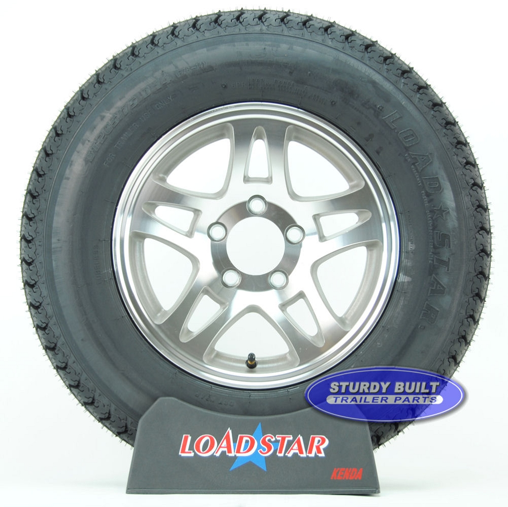 ST205//75D14 Bias Ply Trailer Tire and Galvanized 5 lug Spoke Trailer Wheel Assbly