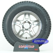 Trailer Tire ST205/75D14 Bias Ply on Aluminum Split Spoke Wheel 5 Lug