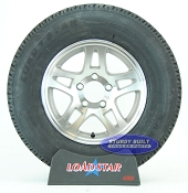 ST205/75R14 Radial Boat Trailer Tire on a Split Spoke Aluminum 5 Lug Wheel