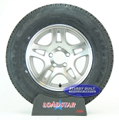 ST205/75R15 Radial Boat Trailer Tire mounted on a Aluminum 5 bolt Wheel