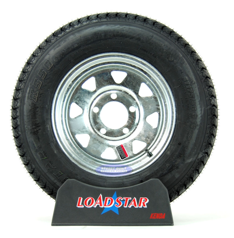St175  80d13 Boat Trailer Tire On A Galvanized 5 Bolt Wheel B78