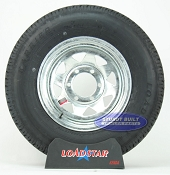 ST225/75R15 Radial Boat Trailer Tire mounted on a Galvanized 6 bolt Wheel