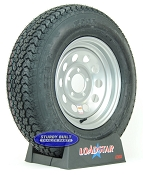 ST205/75D14 Trailer Tire F78-14 on a Silver Gray Mod 5 bolt Wheel