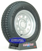 ST205/75D15 Trailer Tire F78-15 on a Silver Gray Mod 5 bolt Wheel