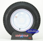 ST175/80D13 Trailer Tire on a White Spoke Painted 5 bolt Wheel B78-13
