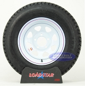 ST205/75D14 Bias Ply Trailer Tire mounted on White Spoke 5 bolt Wheel