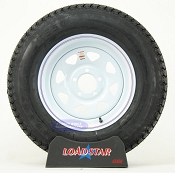 ST205/75D15 Bias Ply Tire on a White Painted 5 on 4 1/2 Trailer Wheel