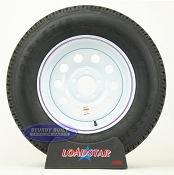 ST205/75R15 Radial Trailer Tire on a White Painted Mod 5 bolt Wheel