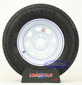 ST205/75R15 Radial Trailer Tire on a White Spoke Painted 5 bolt Wheel