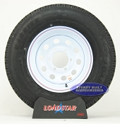 ST225/75R15 Trailer Tire Radial on a 6 Bolt White Mod Wheel