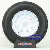 ST225/75R15 Radial Trailer Tire on a White Spoke Painted 5 bolt Wheel