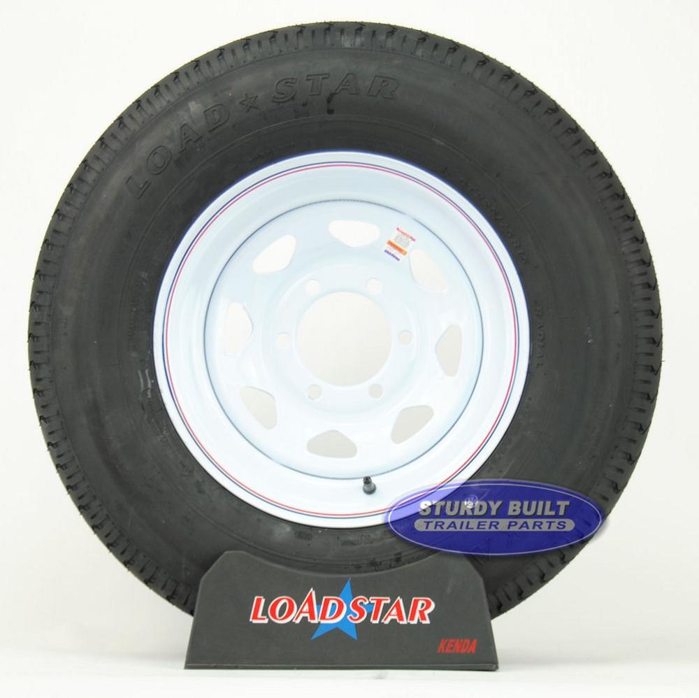 St225 75r15 Trailer Radial Trailer Tire On A 6 Bolt White Spoke Wheel