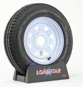 ST 5.30x12 Trailer Tire 5.30-12 on 4 Bolt White Wheel 1045lb Capacity